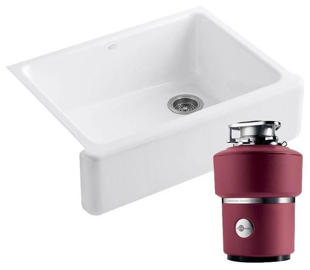 KOHLER Kitchen Whitehaven Undermount Cast Iron 29-11/16 in. 0-Hole Kitchen Sink - Contemporary ...