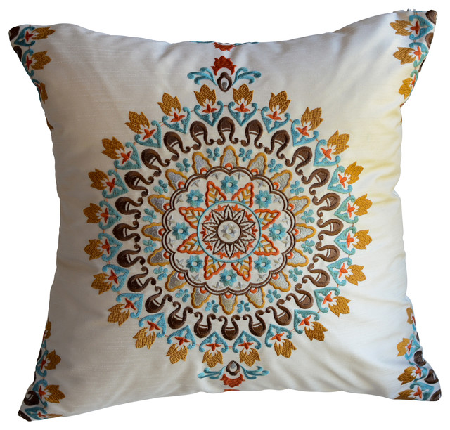Exquisite Embroidered Medallion Pillow - eclectic - pillows - by
