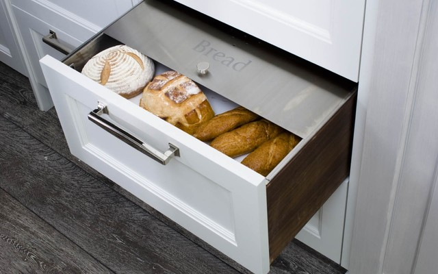 Custom Fitted Stainless Bread Drawer modern-kitchen-drawer-organizers