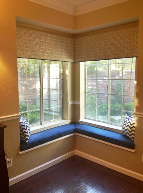 corner window cornices and bench cushions transitional