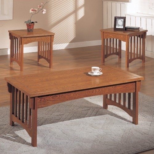 Mission Style Three Piece Coffee Table Set In Dark Oak Modern Coffee Tables By Wayfair