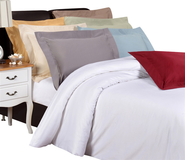 Egyptian Cotton 1200TC Solid Duvet Set - Full/Queen - Taupe traditional-duvet-covers-and-duvet-sets