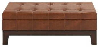 Woodland Import Leather Spacious Storage Bench with Timeless Design modern-upholstered-benches