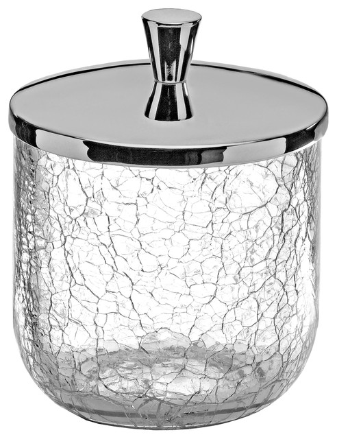 Crackle Cotton Ball Swap Pad Container Cup Holder Chrome