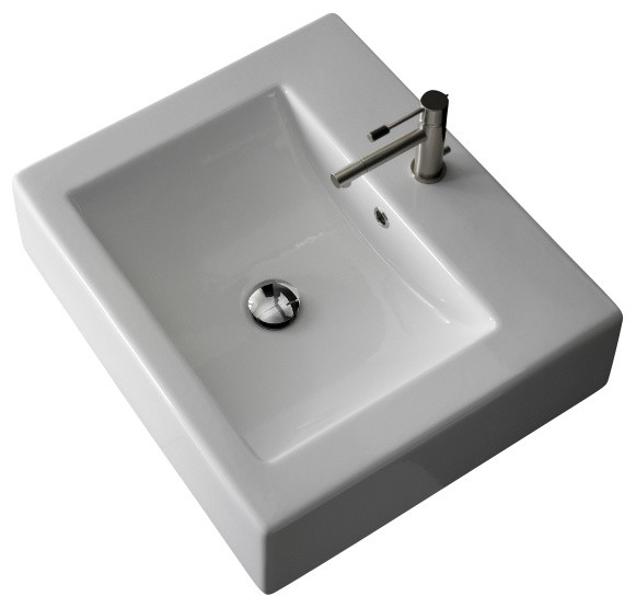 Square White Vessel Sink : Square White Ceramic Wall Mounted or Vessel Sink, One Hole ...