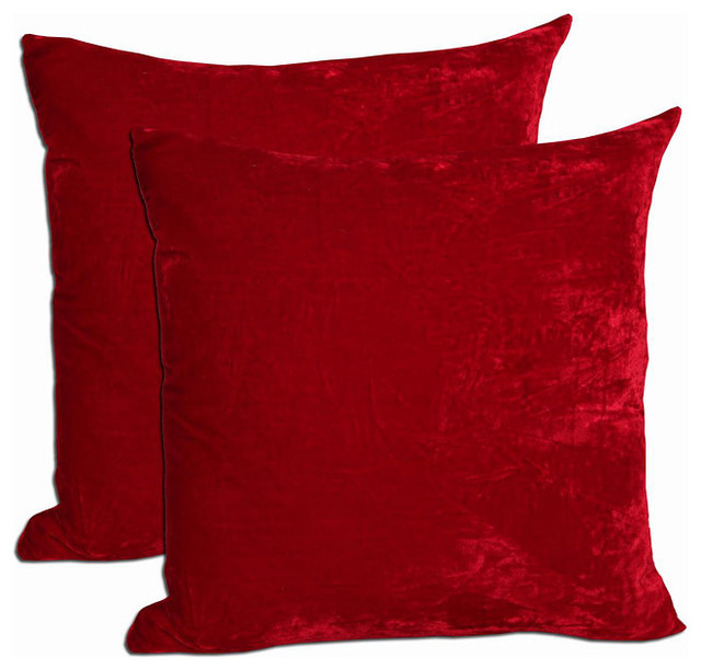 Red Velvet Feather and Down Filled Throw Pillows (Set of 2) - Contemporary - Decorative Pillows ...