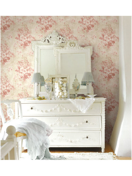 Vintage Wallpaper - A beautiful pink floral wallpaper with a vintage inspiration for decor available from Brewster Home Fashions