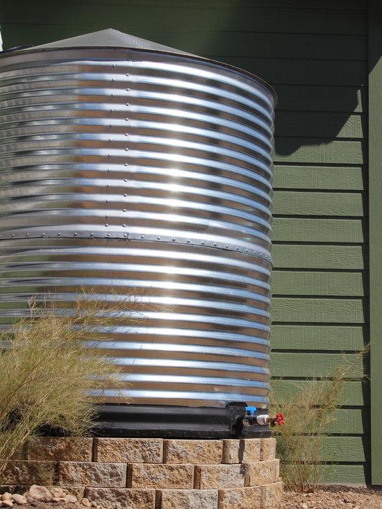 Rain Tank - This galvanize metal rain tank holds 1,000 gallons of water!
