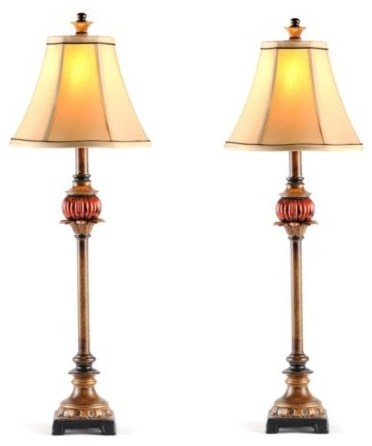 Ruby Red Buffet Lamp, Set of 2 traditional-lamp-sets