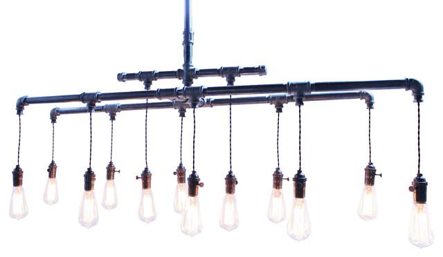 Industrial Vintage Cloth Cord & Rustic Pipe Metal Chandelier, Vintage eclectic-chandeliers