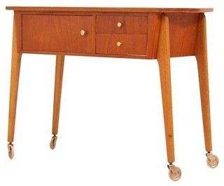 Danish Modern Teak Sewing Table Cart - Midcentury - Side Tables And End Tables - by Chairish