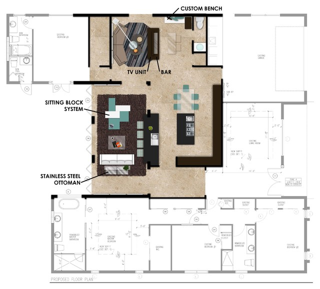 Rendered floor plans modern floor plan miami by e Rendering floor plans
