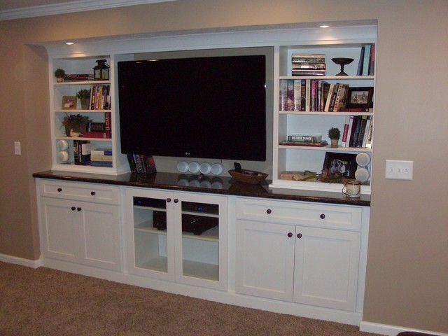 White Cabinets Entertainment Center Shaker Style