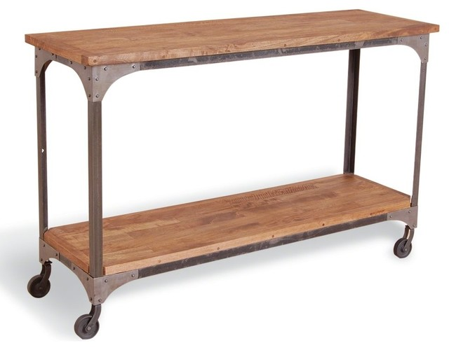 Industrial Steel and Mango Console Table modern-console-tables