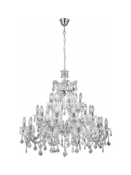 Chichi Furniture Exclusives. - A stunning Italian Chrome finish Crystal Glass Chandelier, delicately trimmed with Italian Crystal droplets. This three tier fitting is ideal for a ballroom or large open hallway.