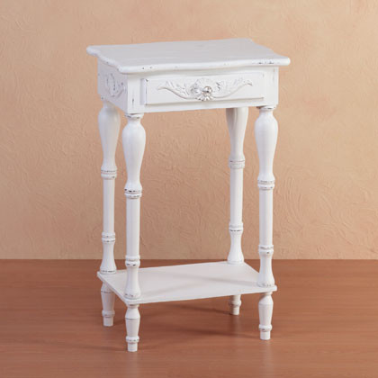 Distressed White Wood Carved Side Table Traditional