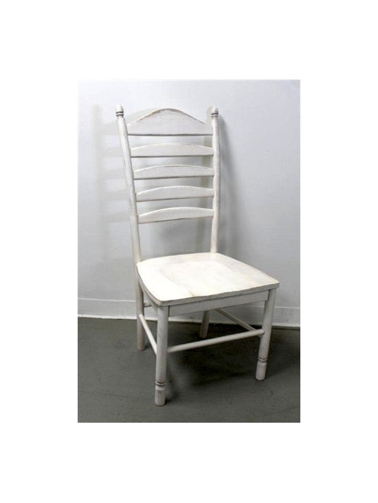 White Tall Ladder Back Chair - Made by http://www.ecustomfinishes.com