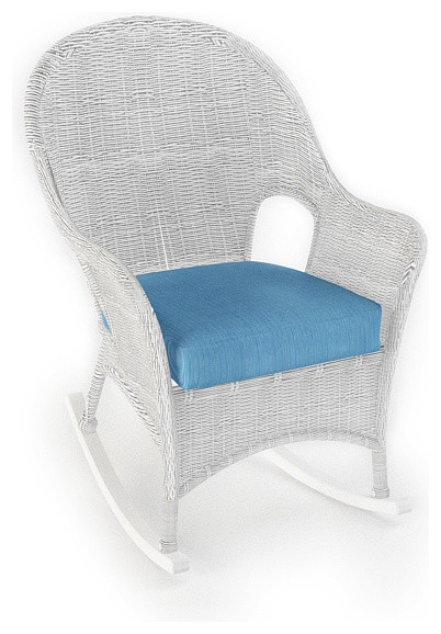 Rockport Outdoor Wicker Rocker Air Blue Cushions Traditional Outdoor Lou