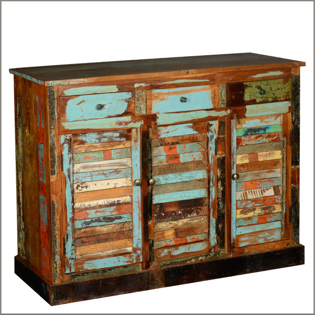 Reclaimed Wood Furniture Buffet Cabinet 3 Drawer 3 Door Sideboard - Rustic - Buffets And ...
