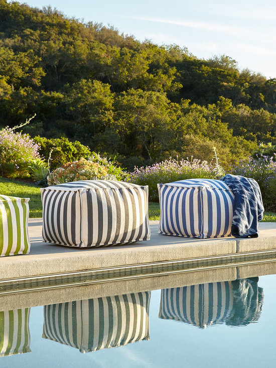 """Horchow - Sprout Green/Ivory Indoor/Outdoor Beanbag Pouf - Sprout Green/Ivory Indoor/Outdoor Beanbag PoufDetailsBeanbag pouf offers extra seating for patio poolside children's room living room anywhere.Outdoor-safe polypropylene fabric is filled with polystyrene beads.25""""W x 23""""D x 17""""T.Imported."""