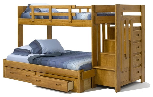 Heartland Twin Over Full Reversible Stair Bunk Bed