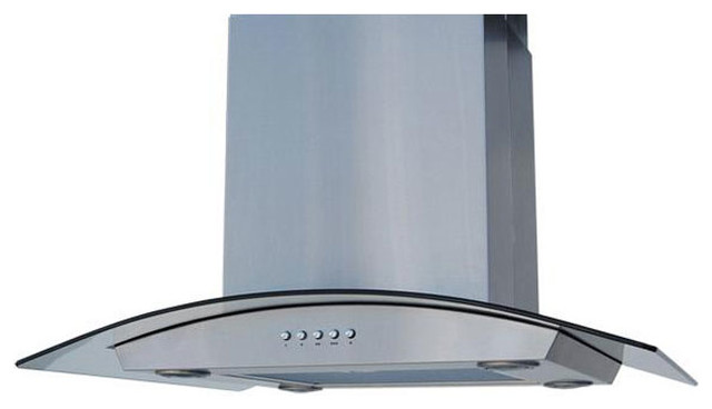 Island Curved Glass 30 inch Range Hood Contemporary Range Hoods And Vents