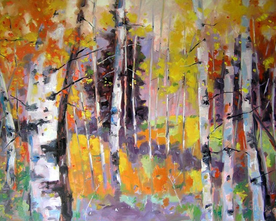 Autumn Grove - an aspen grove turning color in the fall - 36 x 48 oil painting - living room space, paintings on canvas, contemporary oil paintings