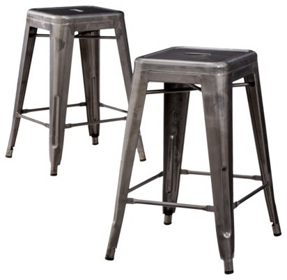 Carlisle Metal Counter Stools Gray Set Of 2 Industrial
