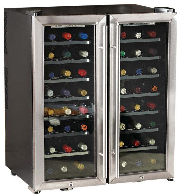 Wine enthusiast 48 bottle dual zone free standing wine for Beer and wine cooler table