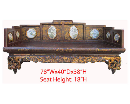 Vintage CaoZhou Antique Red Gold Carving Canopy Day Bed - Look at this Chinese antique canopy day bed which is made of solid elm wood. Its front legs have very detail gold flower and bird hand carving, the seat top is made of bamboo, and especially the back and sides have marble landscape inlay on it. It can be used as day bed for a snap or decorate your living room now.
