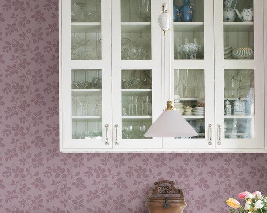 Phoebe Purple Rose Leaf Trail Brewster Wallpaper -