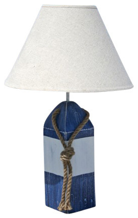 Buoy Lamp- Blue/White/Blue - beach style - table lamps - by