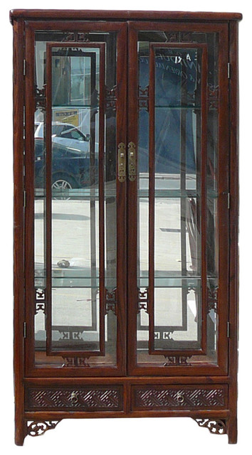 Chinese Oriental Mirror Glass Curio Display Cabinet - Asian - China Cabinets And Hutches - by ...