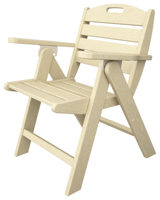 Nautical Low Back Folding Chair Sand Outdoor Recycled Plastic Furniture Far