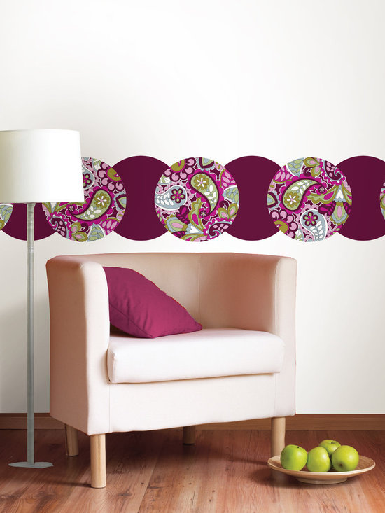 "Very Berry Blackberry Dots Set of Wall Decals - Very Berry features fun paisley with a 60's retro vibe! And this pack comes with the coordinating Blackberry WallPops dots. In total there are sixteen 13"" dots (eight of each desing). WallPops are repositionable and always removable."