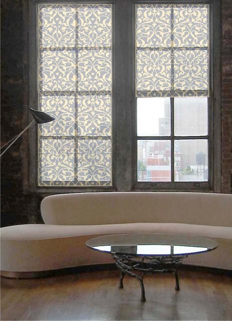 "Delia Shades' Custom Solar Shades in ""Italian Arabesque"" pattern contemporary-living-room"