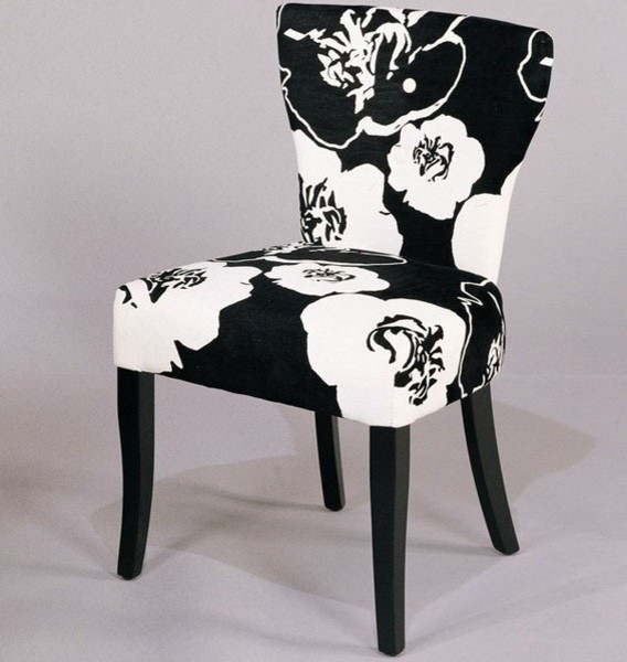 Floral Dining Room Chairs: Black & White Floral Dining Side Chair (Set