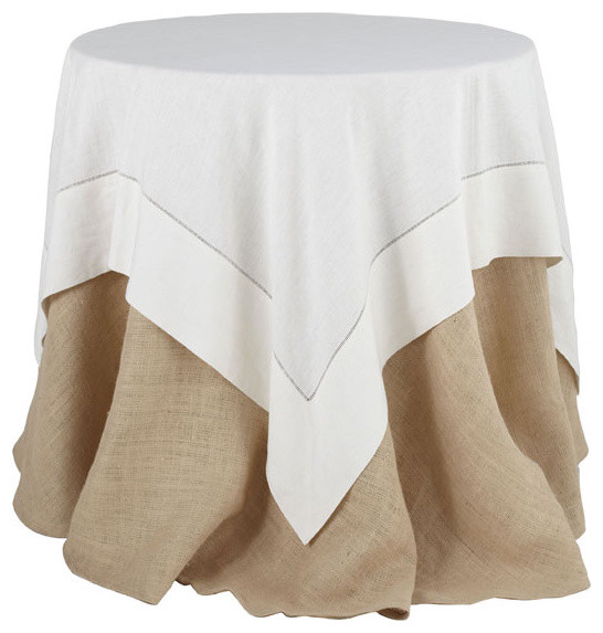 White Linen Hemstitch Overlay Tablecloth - Large traditional-tablecloths