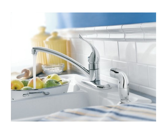 Moen Chateau Glacier one-handle low arc kitchen faucet - The ever–popular Chateau® collection features soft, clean curves and modern, rounded styling – a proven classic.