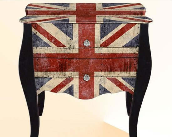 Wood living furniture - French Style Union Jack Wood Cabinet of 2 Drawers