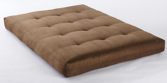 Suede Olive VertiCoil Spring 8 inch Thick Full size Futon