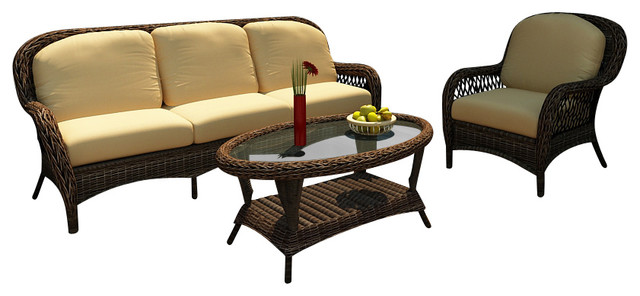 Leona 3 Piece Outdoor Wicker Sofa Set, Canvas Wheat Cushions traditional-patio-furniture-and-outdoor-furniture