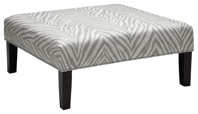 Square Cocktail Ottoman - Zebra Steel - contemporary - ottomans