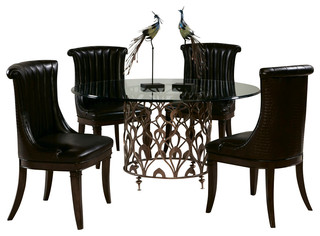 bob mackie 5 piece round glass dining room set traditional dining
