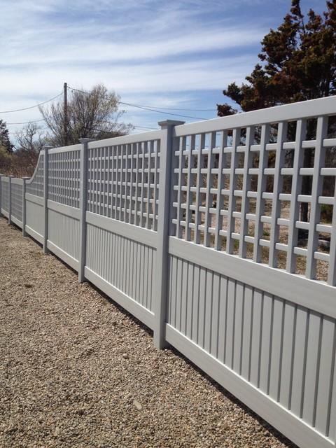 Beach house grey vinyl lattice fencing