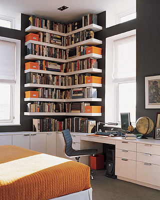 Orange ,White & Grey Home Office eclectic-home-office