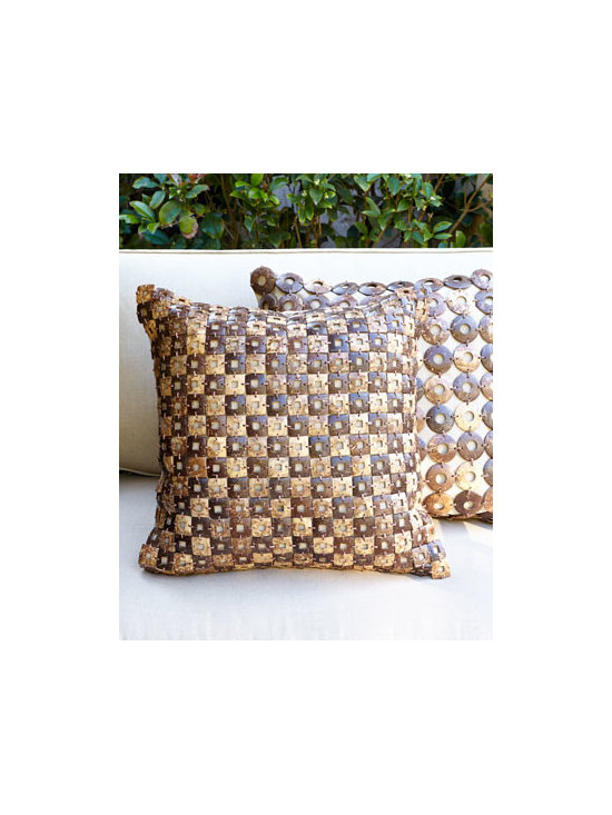 Horchow - Coconut-Shell Outdoor Pillows - Add natural organic appeal to outdoor seating with these striking coconut-shell-embellished outdoor pillows. Handcrafted of Sunbrella® fabric embellished with cut and polished coconut shell. Polyester filled inserts. Outdoor safe. Sold individ...