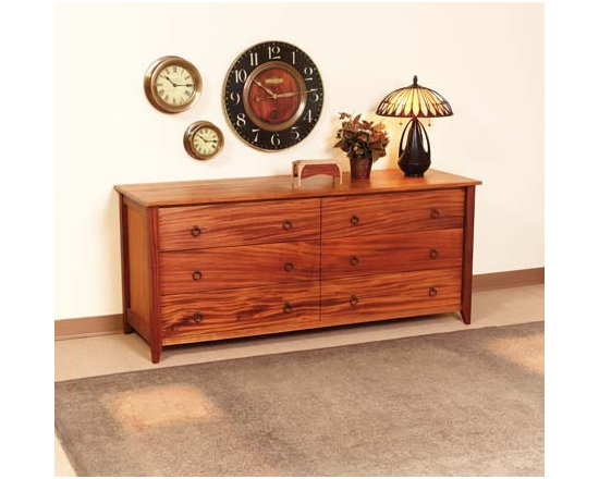 PRAIRIE 6 DRAWER HORIZONTAL DRESSER - This bedroom collection rivals the simple, timeless, elegant qualities of authentic shaker furnishings. Gentle tapered legs and feet, smooth surfaces, and solid hardwood construction make this collection one that fits well with both traditional and contemporary styles.