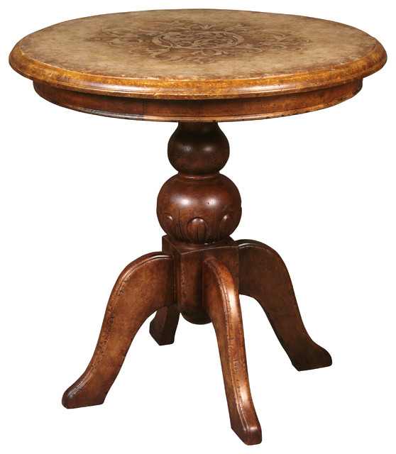 Miel Hand Painted Round Side Table Traditional Side Tables And End Tables By Masins Furniture