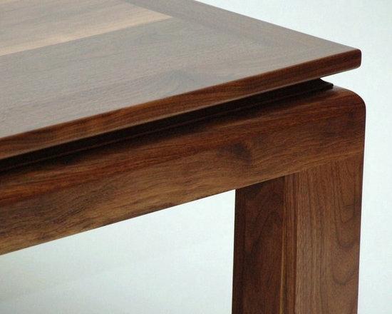 Ming Walnut Coffee Table - signature edge view -